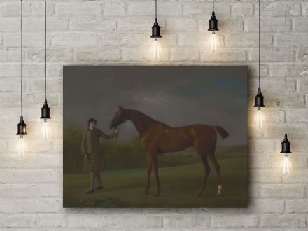 George Stubbs: Lustre, Held by a Groom. Fine Art Canvas.